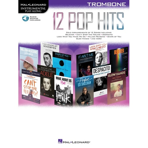 12 Pop Hits Trombone Book/Online Audio (Softcover Book/Online Audio)