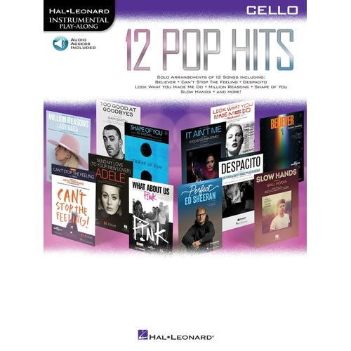 12 Pop Hits Cello Book/Online Audio (Softcover Book/Online Audio)