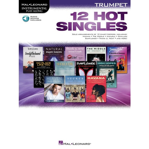 12 Hot Singles For Trumpet Book/Online Audio
