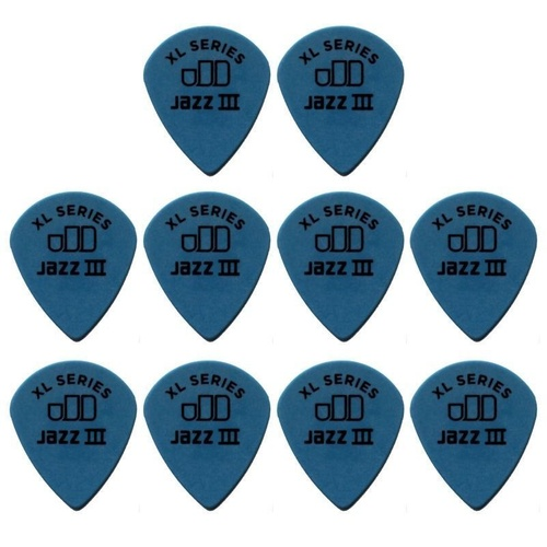 10 x Jim Dunlop Tortex Jazz 3 XL Blue 1.00mm Guitar Picks 498R Free Post