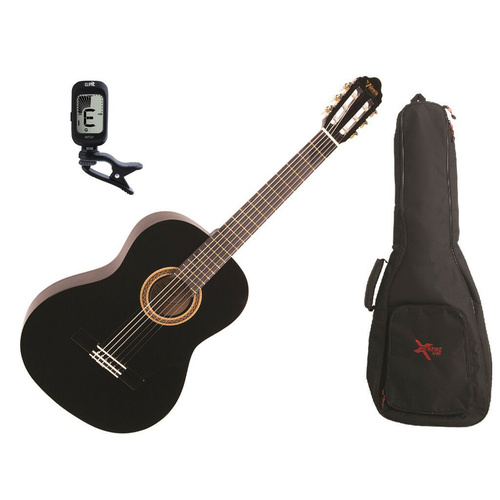 Valencia Full Size Classical Guitar Pack Black C/W Padded Bag & Clip On Tuner