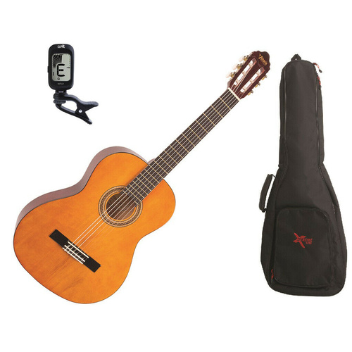 Valencia 1/4 Size Classical Guitar Pack Natural C/W Padded Bag & Clip On Tuner