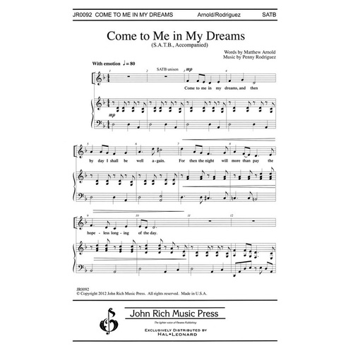 Come To Me In My Dreams SATB (Octavo)