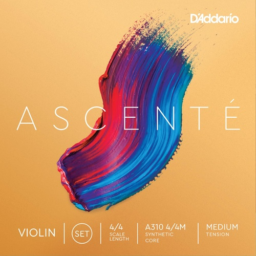 D'Addario Ascente Violin String Set, 4/4 Scale, Medium Tension