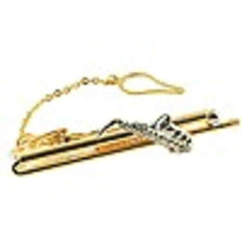 Tie Bar Saxophone 18kt Gold Ep 2 Tone