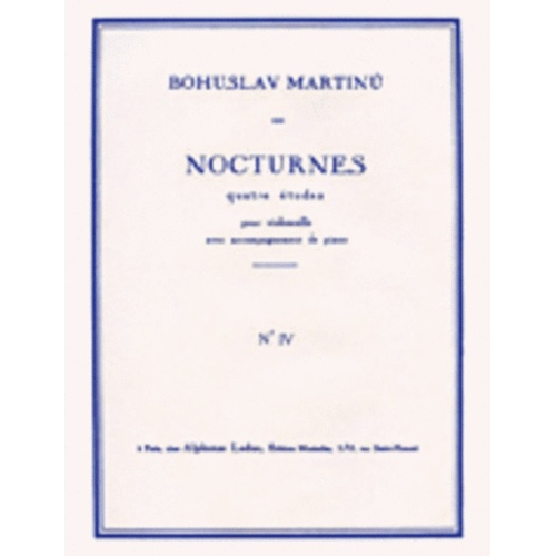 4 Nocturnes No 4 H189 Cello And Piano (Softcover Book)