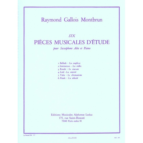 Gallois-Montbrun - Pieces Musicale D Etude Asax/Piano (Softcover Book)