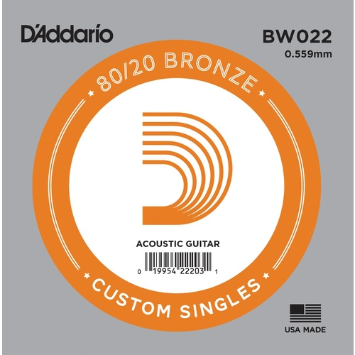 D'Addario BW022 Bronze Wound Acoustic Guitar Single String, .022