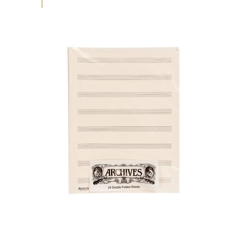 Archives Double-Folded Manuscript Paper Sheets, 8 Stave, 24 Sheets Book