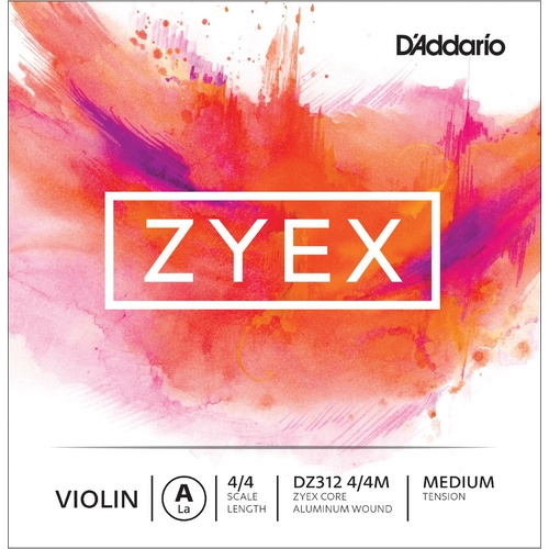 D'Addario Zyex Violin Single A String, 4/4 Scale, Medium Tension
