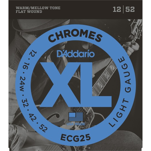 D'Addario ECG25 Chromes Flat Wound Electric Guitar Strings, Light, 12-52