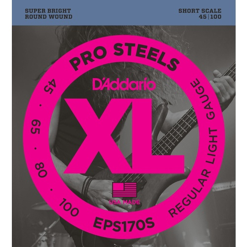 D'Addario EPS170S ProSteels Bass Guitar Strings, Light, 45-100, Short Scale