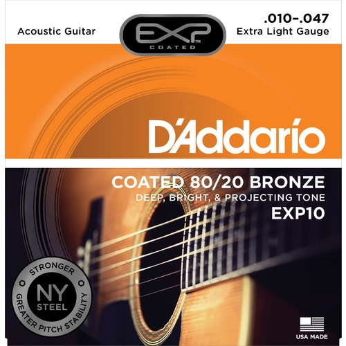D'Addario EXP10 Coated Acoustic Guitar Strings, 80/20, Extra Light, 10-47
