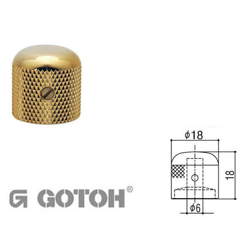 Electric Guitar Telecaster Style Control Knobs - GOTOH Gold knob, Dome top
