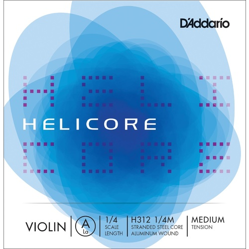 D'Addario Helicore Violin Single A String, 1/4 Scale, Medium Tension
