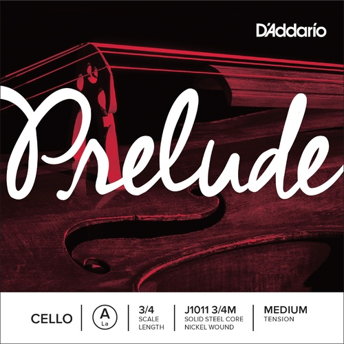 D'Addario Prelude Cello Single A String, 3/4 Scale, Medium Tension