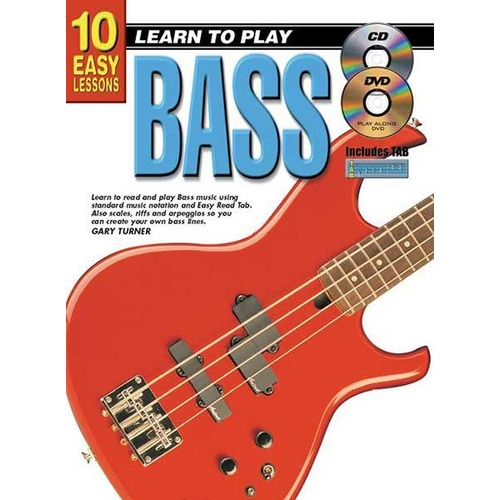 10 Easy Lessons Learn To Play Bass Book/CD/DVD Book