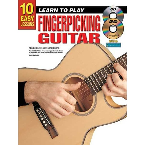 10 Easy Lessons Learn To Play Fingerpicking Guitar Book/CD/DVD Book