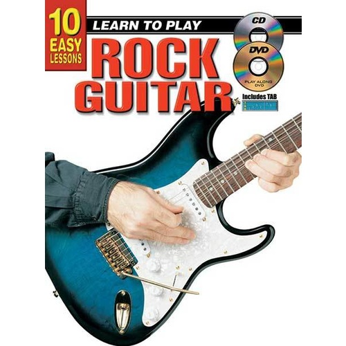10 Easy Lessons Learn To Play Rock Guitar Book/CD/DVD Book