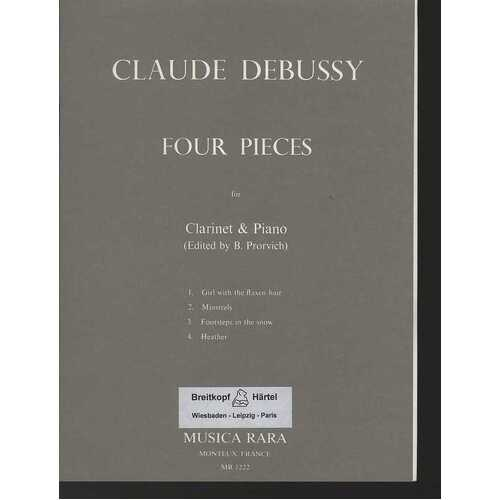Debussy - 4 Pieces From Preludes Clarinet/Piano (Softcover Book)