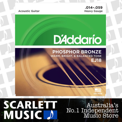 D'Addario EJ-18 Phosphor Bronze Acoustic Guitar Strings Heavy 14-59
