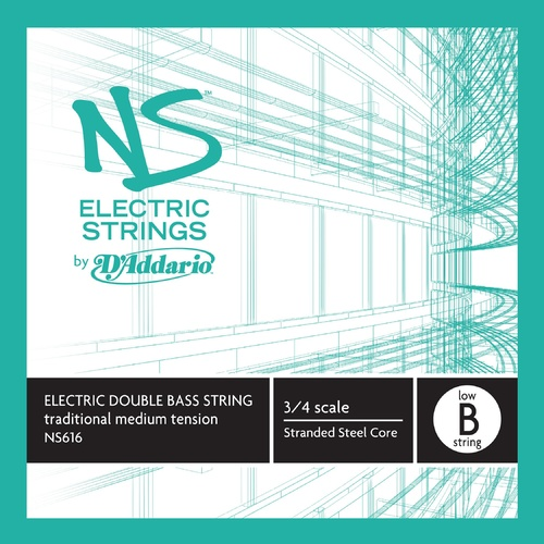 D'Addario NS Electric Traditional Bass Single Low B String, 3/4 Scale, Medium Tension