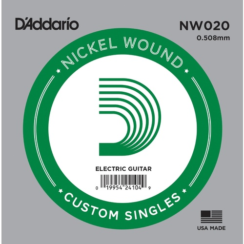 D'Addario NW020 Nickel Wound Electric Guitar Single String, .020