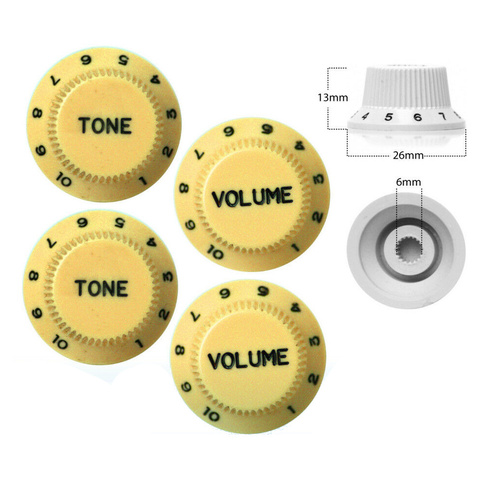 4 x Strat Style Volume / Tone Control Knobs Electric Guitar Creme
