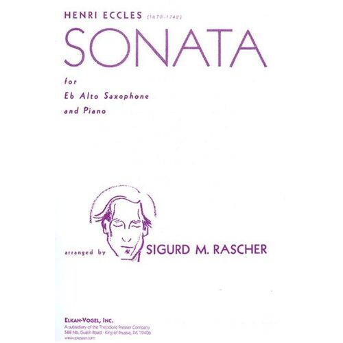 Eccles - Sonata For Alto Sax/Piano Arr Rascher (Softcover Book)